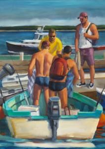 Docking at MacMillan Wharf, by Robert Morgan (2014): oil on linen, 20 x 16 inches