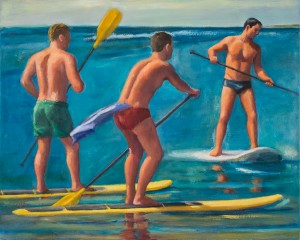 "Paddleboarders, Herring Cove, by Robert Morgan, oil on canvas, 24"" x 30"""