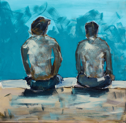 Painting of two men at a pool.