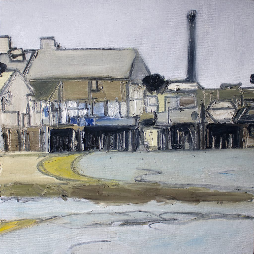 Wharf II, by Sean McCabe, oil and charcoal on canvas, 20 x 20 inches
