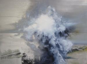 "Entropy High XXI (ice calving), by Joerg Dressler, oil on canvas, 36"" x 40"""