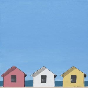 "Beach Trio, by Paul Pedulla, acrylic on canvas, 12"" x 12"""