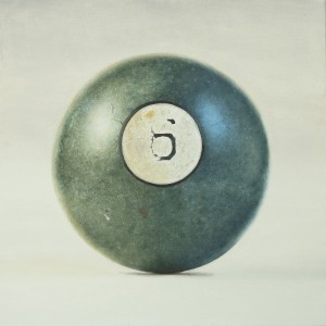 """""""6,"""" by Heather Toland, oil on birch panel, 10"""" x 10"""""""