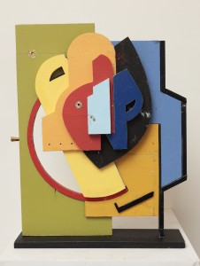 """After Blanche Lazzell's Painting I, 1924, by Mike Wright, found painted wood, 27"""" x 20"""" x 7"""""""