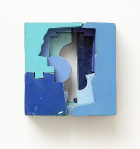 """Looking Into Blue, by Mike Wright, found painted wood, 5"""" x 5"""" x 3"""""""