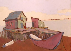 """Lewis Wharf Stage, by Laurence Young, oil on canvas, 30"""" x 40"""""""