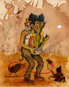 "La Vecina Cha Cha Cha, by Raúl Gonzalez III, mixed media, 12"" x 9"""