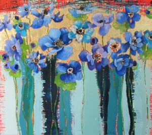 "Blue Anemones #1039, by Anne Salas, oil on canvas, 32"" x 36"""