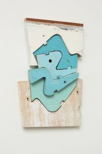 Tides #1, by Mike Wright, found painted wood, 12 x 9 inches