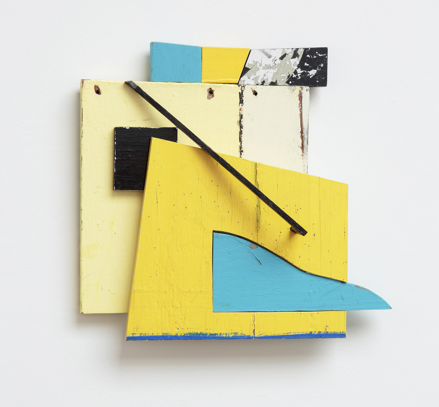 Color Field Cadmium, by Mike Wright, found painted wood, 12 x 12 inches